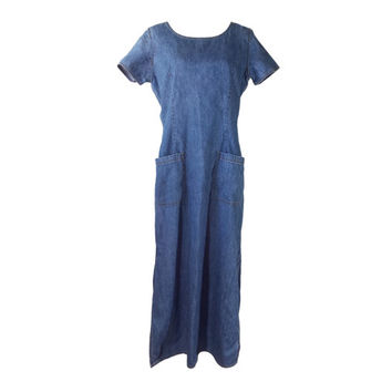 90s Blue Denim Maxi Dress 12, Vintage Liz Claiborne Lizwear Chambray Jean Maxi Dress Short Sleeve Side Slits Front Pockets, 1990s Grunge