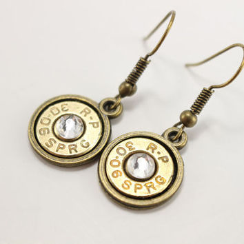 Bronze 30-06 Bullet Earrings With Crystal For Any Gun Loving Country Gal - Ammo Bullet Jewelry For Southern Girls