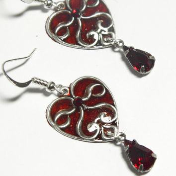 Silver filigree heart earrings, red plique a jour, heart jewellery, red crystal, stained glass earrings, silver red filigree