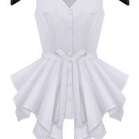 White V Neck Sleeveless Ruffled Buttons Top