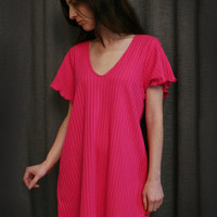 Hot Pink Short Sleeve Short NightGown Cotton Shadow Stripe, Made In The USA | Simple Pleasures, Inc.
