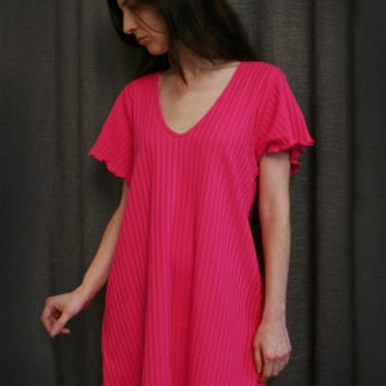 Hot Pink Short Sleeve Short NightGown Cotton Shadow Stripe, Made In The USA   Simple Pleasures, Inc.