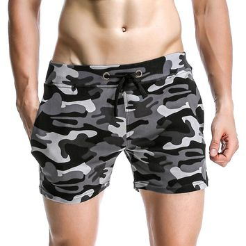 Mens Camouflage Board Shorts 2017 Summer Cotton Beach Shorts Slim Fitness Male Sweat Shorts Bodybuilding Boardshorts Bermuda
