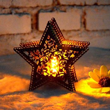 Christmas Decor Moroccan candlestick candles five-pointed star colorful candlestick for light for house shop bar decoration P20
