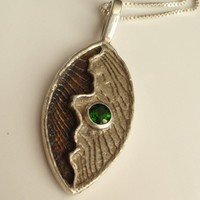 Chrome Diopside Pendant Necklace Green Gemstone Sterling Silver Cuttlebone Cast Hand Made Artisan Made