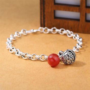 Vintage Silver 925 Jewelry Bracelet Fashion 925 Sterling Silver Bells Red Onyx Bracelets & Bangles For Women Lady Gift B054