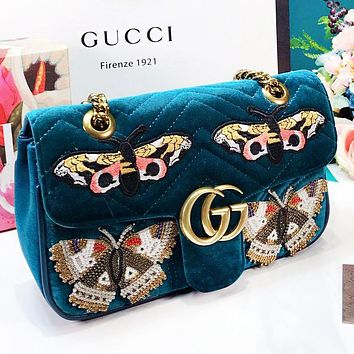 GUCCI Fashion New Embroidery Butterfly Velvet Chain High Quality Shopping Leisure Shoulder Bag Women Blue