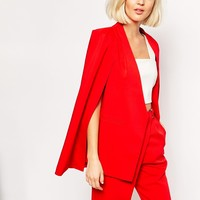 Lavish Alice Collarless Cape Blazer in Lipstick Red at asos.com