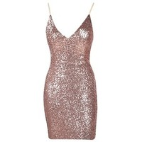 24K Magic Rose Gold Sequin Spaghetti Strap V Neck Bow Back Mini Dress