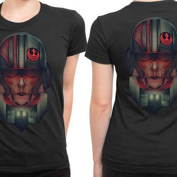 DCCKG72 Star Wars The Force Awakens Resistance Army Illustrations Fan Art 2 Sided Womens T Shirt
