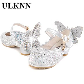 ULKNN Kids Shoes For Girls High Heel Baby Crystal Butterfly Cow Muscle Spring Autumn Casual Children Shoe Bling Gold Silver Pink
