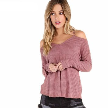 Women Plain T shirt Waffle Knit Cold Shoulder Long Sleeve Casual T shirt