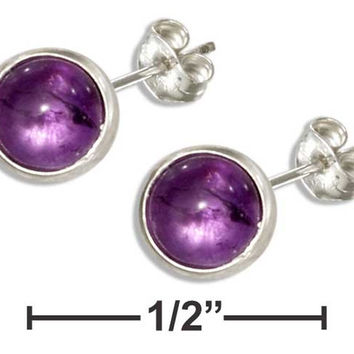 STERLING SILVER 5MM ROUND AMETHYST POST EARRINGS