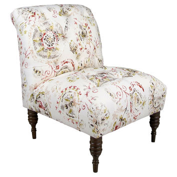 Eloise Tufted Accent Chair, White Floral, Accent & Occasional Chairs