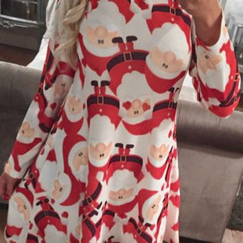 Santa Claus Print Long Sleeve Dress