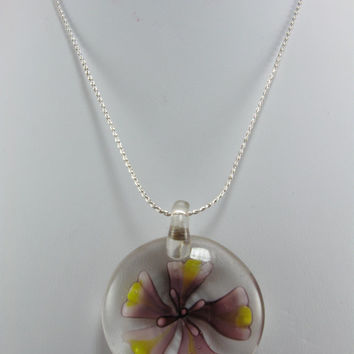 Flower Necklace, Lotus Flower, Glass Pendant, Hand Blown Glass Necklace, Violet and Yellow Lotus Flower Pendant, Sterling Silver Chain