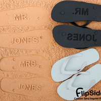 Personalized Sand Imprint Wedding and Bridal Flip Flops. Personalize With Your Design. No Minimum Order Quantity.
