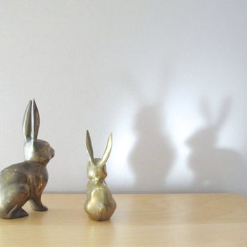 brass rabbit figurine tall march hare
