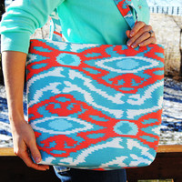 Aqua blue, turquoise and coral orange aztec tribal print tote bag