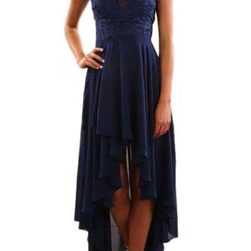 Navy Floral Lace Bodice High-low Prom Dress