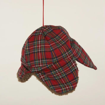 Christmas Ornament - Red Plaid Hunters Hat