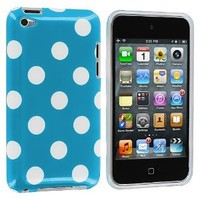 White / Baby Blue Polka Dot TPU Rubber Skin Case Cover for iPod Touch 4th Generation 4G 4