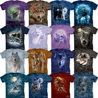 Wolf T-Shirt Howling Wolves Moon Tee Nature Wilderness The Mountain S-3XL NEW!