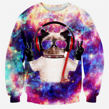 Galaxy DJ Cat Sweater
