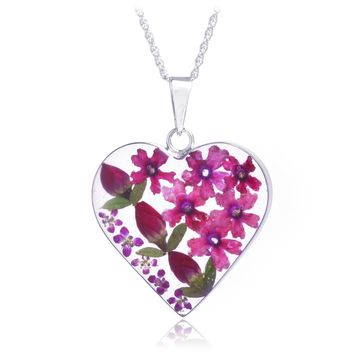 Sterling Silver Pink & Red Rose Dried Flower Heart Necklace