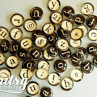 Typewriter Antique Cream and Black Initial Charms Make Necklaces Personalized Add a Charm, Charms for Customized Jewelry