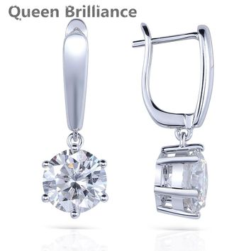 Solid 14K 585 White Gold 4 Carat ct No Less Than GH Color Lab Grown Moissanite Diamond Women Fashionable Earrings Free Shipping