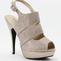 Nude Glitter Inez Cross Strap Peep Toe Pumps