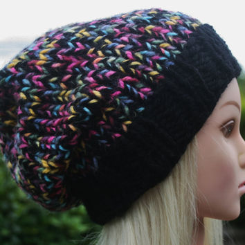 Hand Knit Hat- Women's- Teen- slouchy- beanie- winter hat- rainbow- women accessories