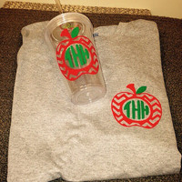 Teacher monogrammed shirt and tumbler combo