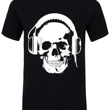 Headphones Skull Men's Black T-Shirt