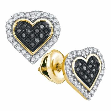 10kt Yellow Gold Women's Round Black Color Enhanced Diamond Heart Cluster Stud Earrings 1-4 Cttw - FREE Shipping (USA/CAN)