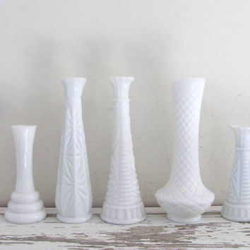 Set of 5 Vintage tall white Glass Bud Vases - Instant Collection