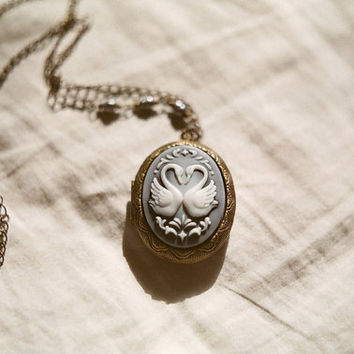Swanhearted Swan cameo locket necklace with by InmostLight on Etsy