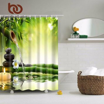 BeddingOutlet Polyester Bamboo Shower Curtain Zen Decorating Ideas Natural For Bathroom 71 x 71 Inch 180 x 180 cm Green