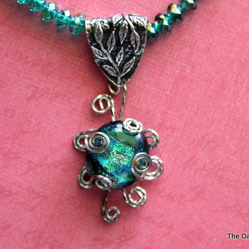 Dichroic Glass Wire Wrapped Pendant and Crystal Necklace