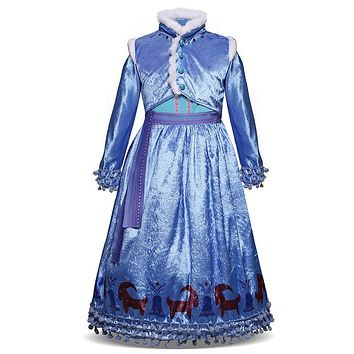 New Girls Fancy Ball Gown Kids Dresses for Princess Girl Cartoon Cosplay Costume Long Evening Dress Girls Children Clothing