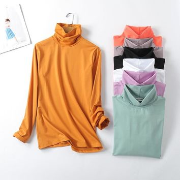 Turtleneck White Slim Fit T-Shirt Basic Tee Women Girl Long Sleeve Brief Tops Fall New Fashion Casual Sexy Stretchy T-Shirt D123