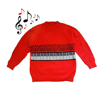 Vintage Red Piano Novelty Sweater 90s Size L Unisex  /music notes knit ironic ugly sweater party acrylic long sleeve crew neck mens womens