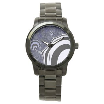 Blue and black striped fractal. wristwatch