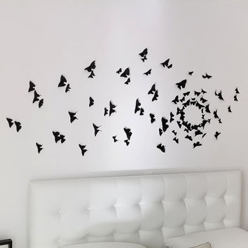 3D Butterfly Wall Art: 60 Soot Black Butterflies for a Magical Silhouette Installation in Any Room of the Home