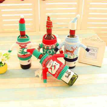 Christmas Decoration Gift Wine Bottle Sweater Cover [9199617860]