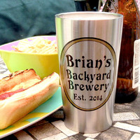 Personalized Stainless Steel Tumbler - Groomsmen Gift, Gifts for Men - Outdoor Drinkware - Deck, Patio, Bar & Grill, Pool, BBQ - One Pint