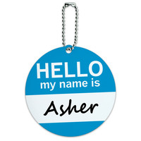 Asher Hello My Name Is Round ID Card Luggage Tag