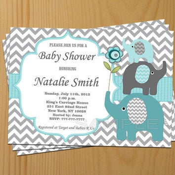 Baby Shower Invitation Boy Elephant Baby Shower Invitation Teal Baby Shower Invites Boy (57) / Free Thank You Card / Instant Download
