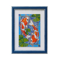 Colorful Koi Carps good luck symbol completed counted cross stitch embroidered wall art home decor